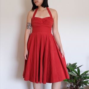 Anthropologie red corduroy cocktail dress